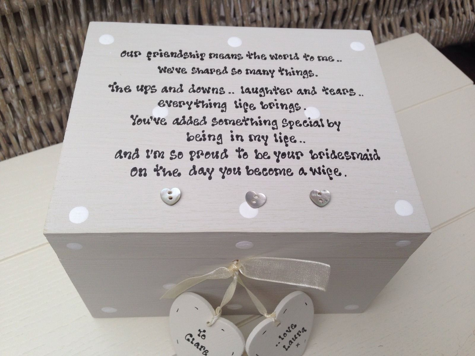 Shabby Personalised Chic Gift For Bride From Bridesmaid Wedding